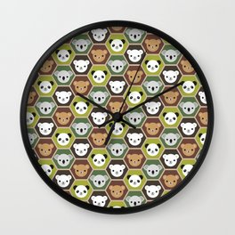 Kawaii Autumn Bears Wall Clock