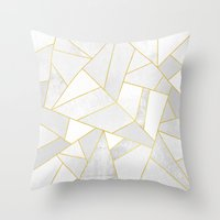 snow Throw Pillows featuring White Stone by Elisabeth Fredriksson