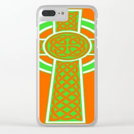 St Patrick's Day Celtic Cross Green and White Clear iPhone Case