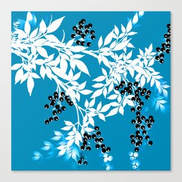 TREE BRANCHES BLUE AND WHITE WITH BLACK BERRIES TOILE Canvas Print