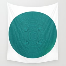 Elegant Metallic Teal Geometric Mandala Wall Tapestry