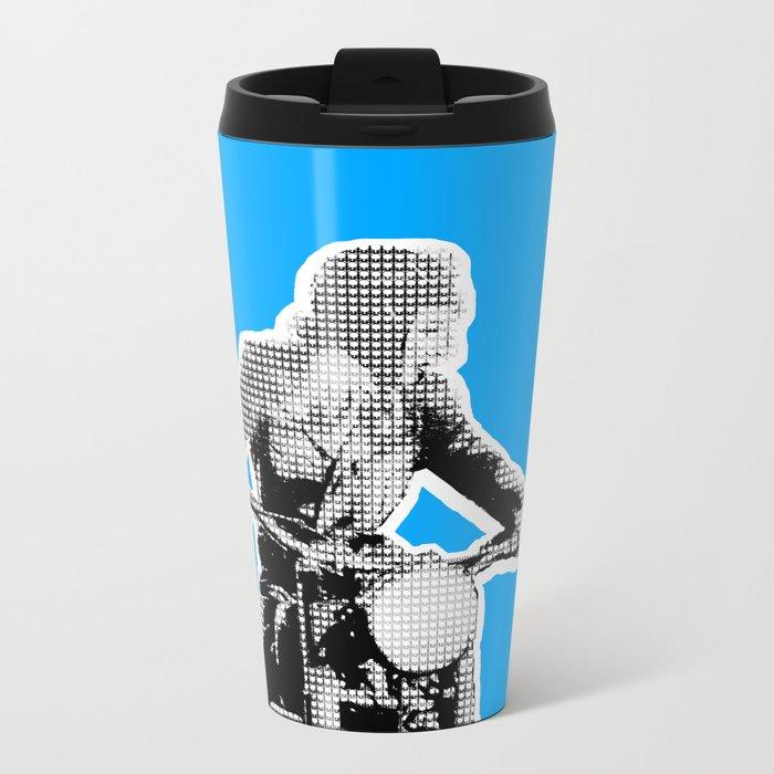 Blue Riding Lady Metal Travel Mug