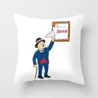 calendar 2015 Throw Pillows featuring Bowler Hat Man Peeling 2016 Calendar by patrimonio