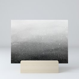 Falling Snow in Grey Mini Art Print