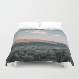 Sierra Mountains with Harvest Moon Duvet Cover
