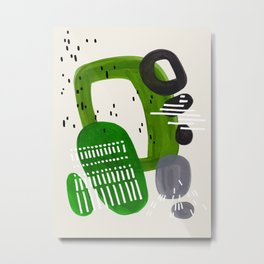 Fun Mid Century Modern Abstract Minimalist Olive Green Rings Grey Black Accent Metal Print