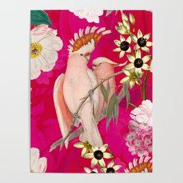 Vintage & Shabby Chic - Tropical Bird Flower Garden Poster