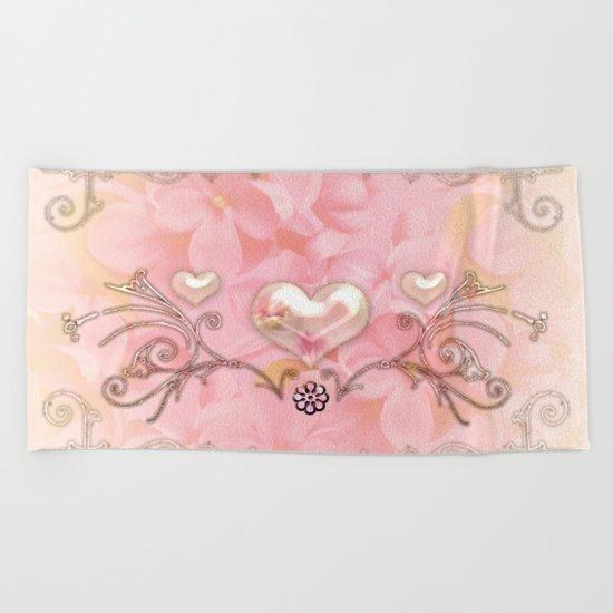 Wonderful hearts with flowers Beach Towel