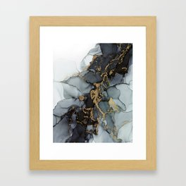 Stormy Black Gold Marble   Abstract Ink Framed Art Print