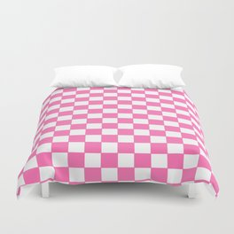 Checkers - Pink and White Duvet Cover