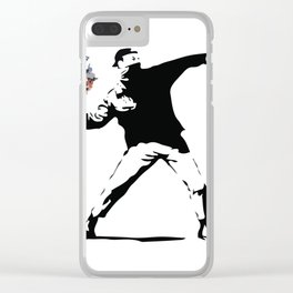 Banksy Flower Thrower Clear iPhone Case