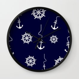 Nautical Navy Pattern with Anchors and Steering Wheels Wall Clock