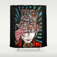 willy wonka Shower Curtains featuring Johnny Depp as Willy Wonka by Portraits on the Periphery