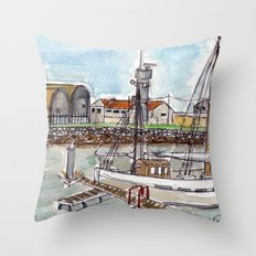 The Harbour, Figueira Da Foz, Portugal Throw Pillow