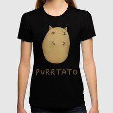 Purrtato SMALL Black Womens Fitted Tee