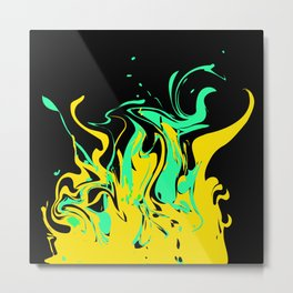 Yellow green abstract pattern on a black background .  The splash of waves . Metal Print