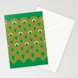 retro sixties inspired fan pattern in green and orange Stationery Cards