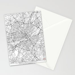 Nantes Map White Stationery Cards