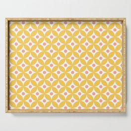 Yellow, coral and white elegant tile ornament pattern Serving Tray