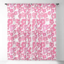 Camellia Flowers in Pink Sheer Curtain