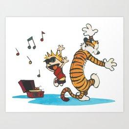 Hobbes Dancing with Vinyl Phonograph, Cute Artwork, Tshirts, Art Posters, Prints, Bags, Men, Women, Art Print