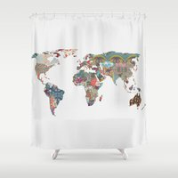 vintage map Shower Curtains featuring Louis Armstrong Told Us So by Bianca Green