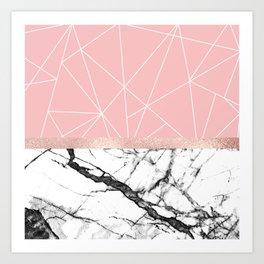 Blush Pink Geometric Triangles Rose Gold Marble Art Print
