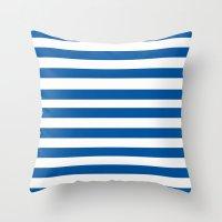 preppy Throw Pillows featuring Preppy Navy & White Stripe by Sweet Karalina