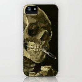 SKULL OF A SKELETON WITH BURNING CIGARETTE - VINCENT VAN GOGH iPhone Case
