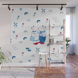 Adorable Dutch hippos in Delft blue style Wall Mural