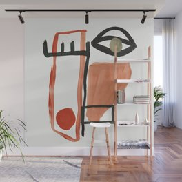 Abstract Face Wall Mural