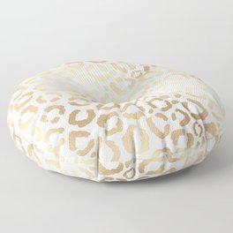 Elegant Gold White Leopard Cheetah Animal Print Floor Pillow