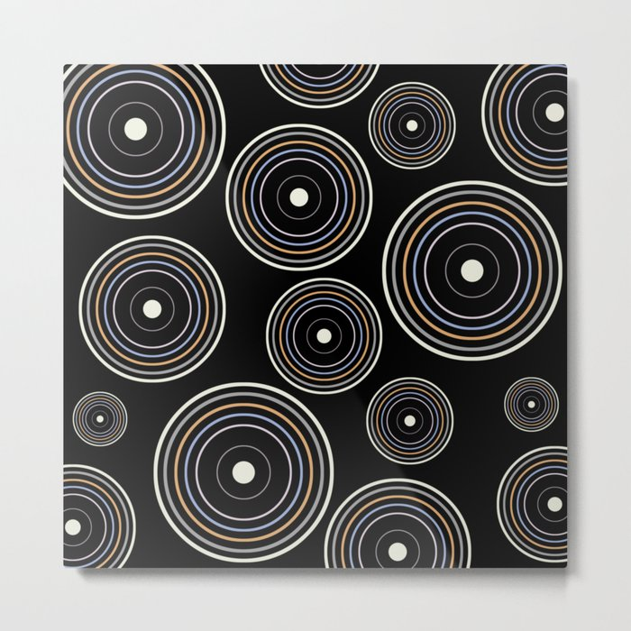 CONCENTRIC CIRCLES IN BLACK (abstract pattern) Metal Print