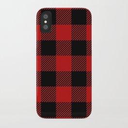 Western Country Woodland Christmas Cottage Primitive lumberjack Buffalo Plaid iPhone Case