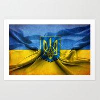 ukraine Art Prints featuring Ukraine Flag by iCherya