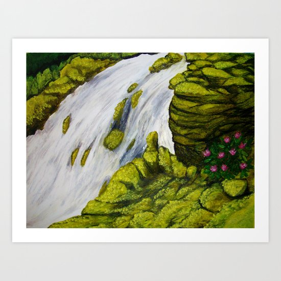 Mossy Waterfall Art Print