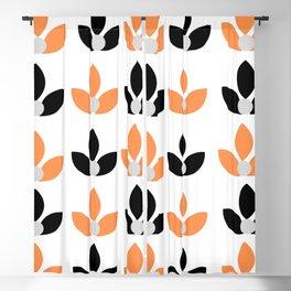Orange and black flower Blackout Curtain