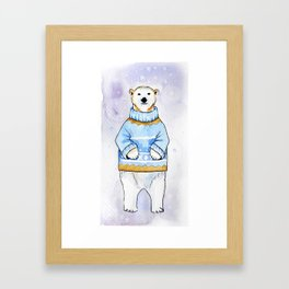 Polar bear in sweater Framed Art Print