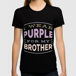I Wear Purple for my Brother Cystic Fibrosis CF Awareness  print T-shirt