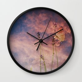 Butterfly and Blush Pink and Indigo Blue Sunset Wall Clock