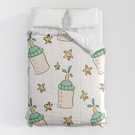 Hand drawn baby bottle and stars. Comforters