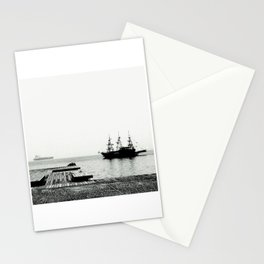 ships on a calm sea black and white Stationery Cards
