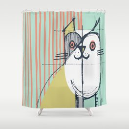 Cubist Cat Study #5 by Friztin Shower Curtain