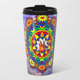 Jerry Hand in a Daisy Mandala Travel Mug