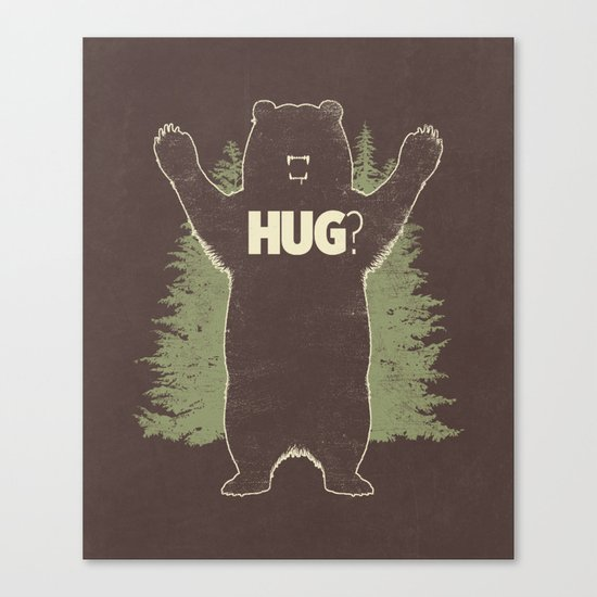 Bear Hug? (dark version) Canvas Print