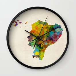 Ecuador Watercolor Map Wall Clock
