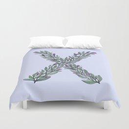 Leafy Letter X Duvet Cover