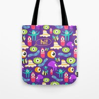 monsters Tote Bags featuring monsters by Ceren Aksu Dikenci