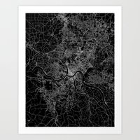 cincinnati Art Prints featuring Cincinnati map by Line Line Lines