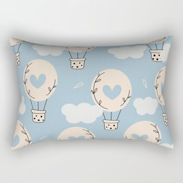 Cute lovely seamless pattern with hot air balloons in the sky with hearts	 Rectangular Pillow